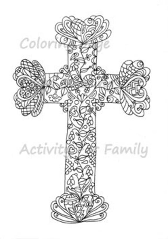 Free Cross Colouring Page Wall Decor Christian Art