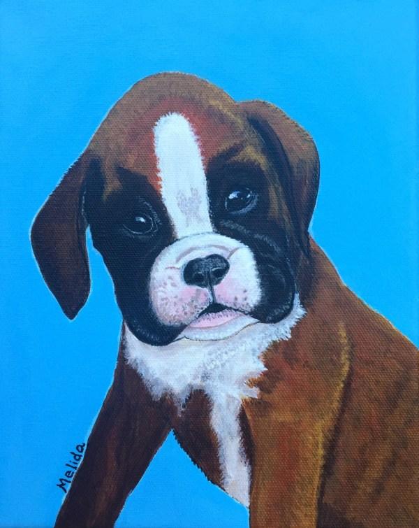 Boxer Puppy Dog Portrait Painting Pet Melidasart