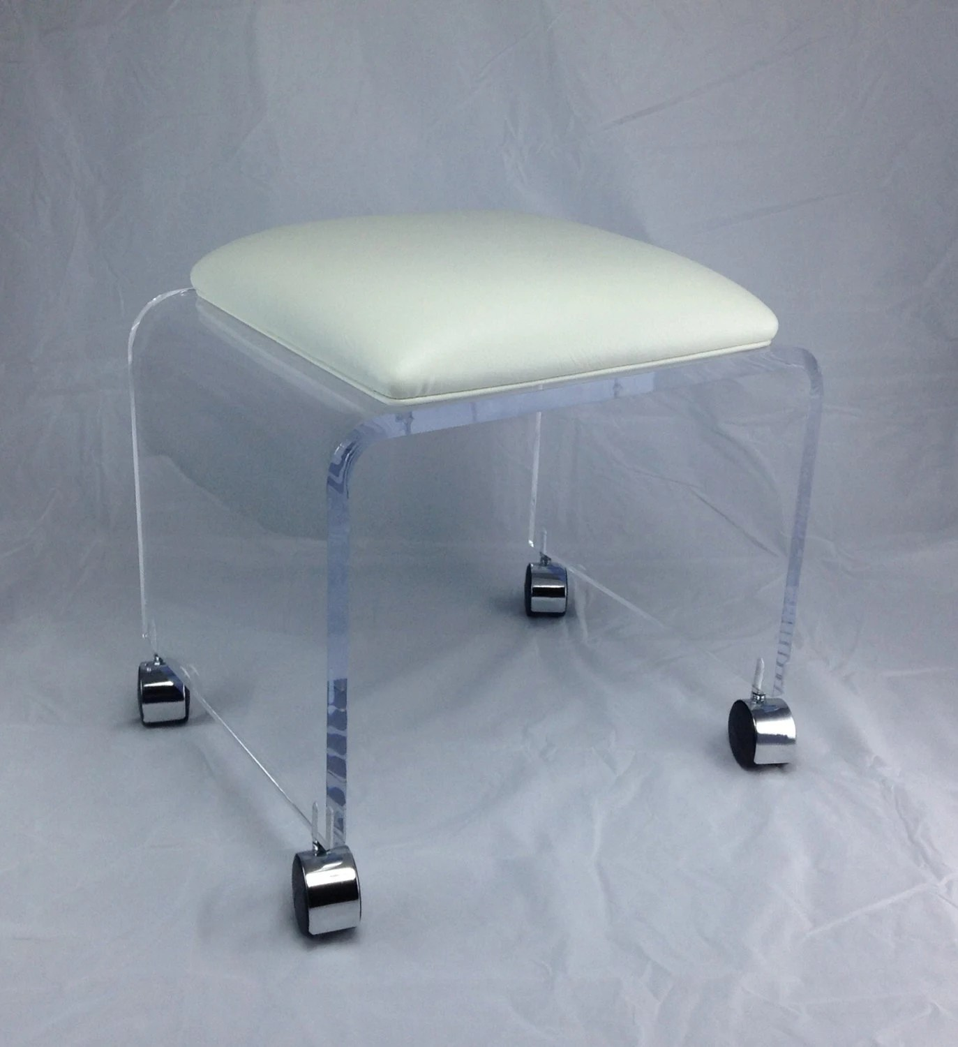 acrylic chairs with cushions high back metal dining clear vanity bench white vinyl cushion and chrome