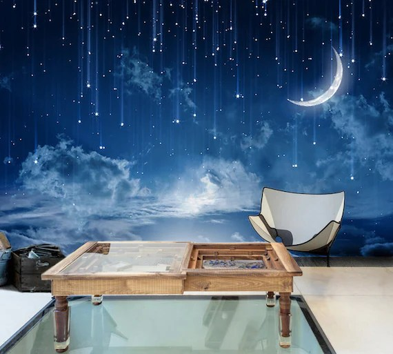 Moon Sky Removable Wallpaper Mysterious Moonlit Self