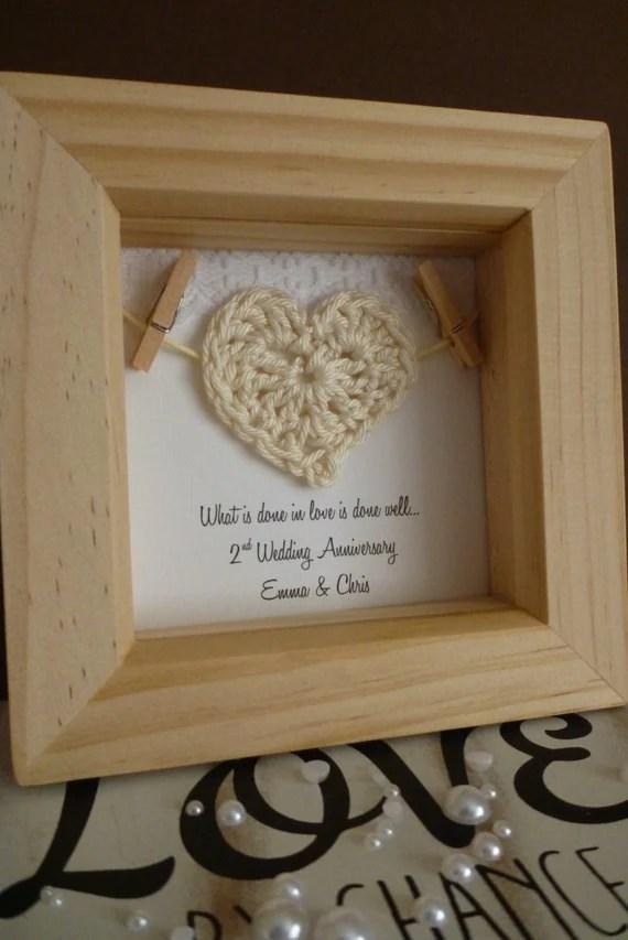 2nd anniversary gift 2nd cotton anniversary gift by TimeForGift