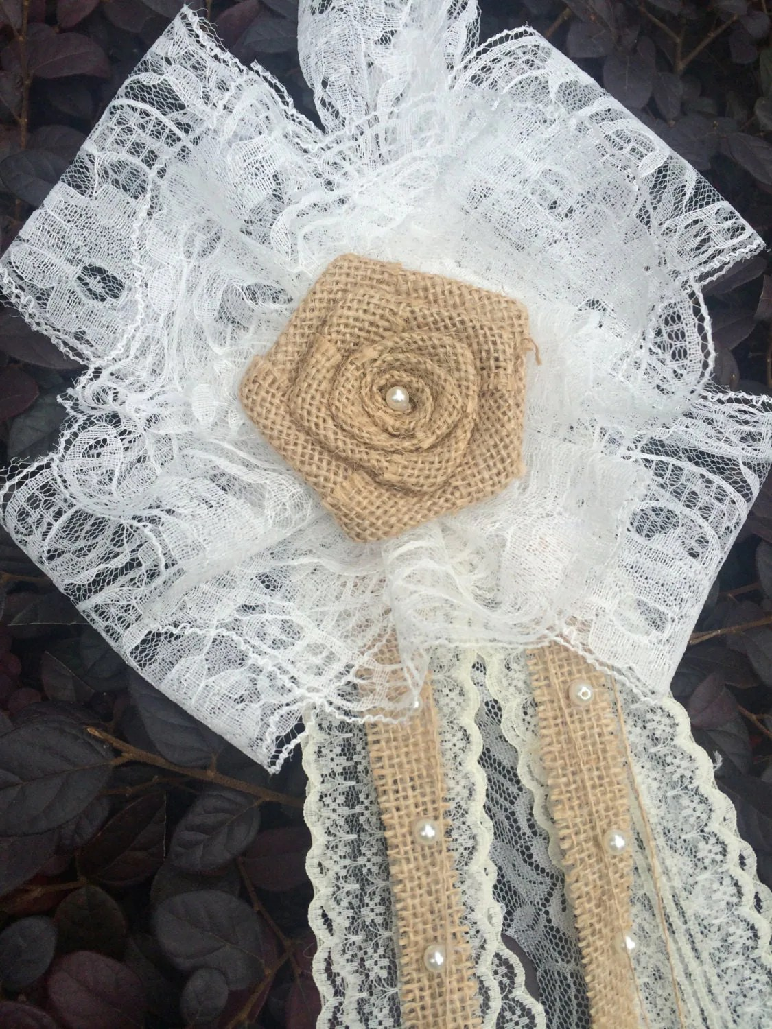 burlap bows for wedding chairs white leather bedroom chair 6 vintage lace pew bow rustic