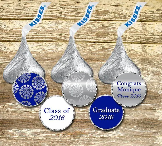 Hershey Kiss Stickers Royal Blue and Silver Wedding