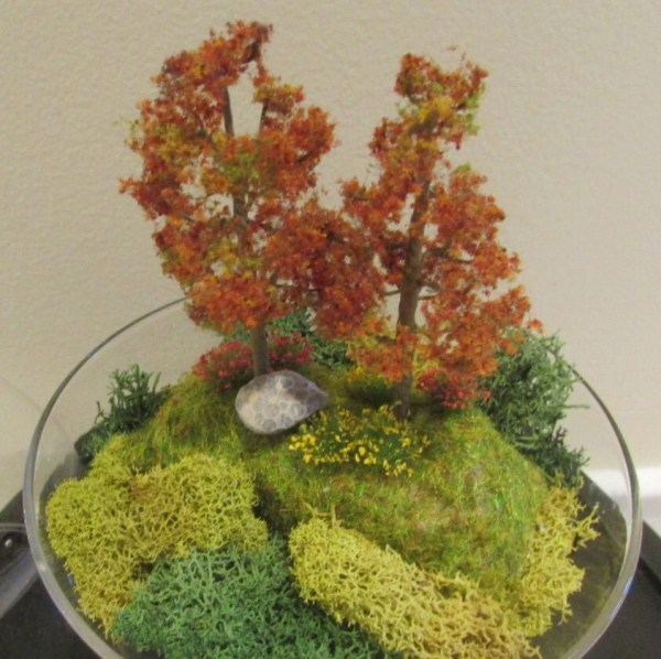 Glass Dome Terrarium With Fall Trees And Flowers Scenery