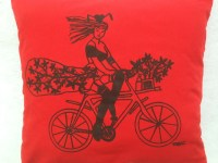 Pin Up Girl Riding Her Bike Silk-screen Pillow. Original Hand