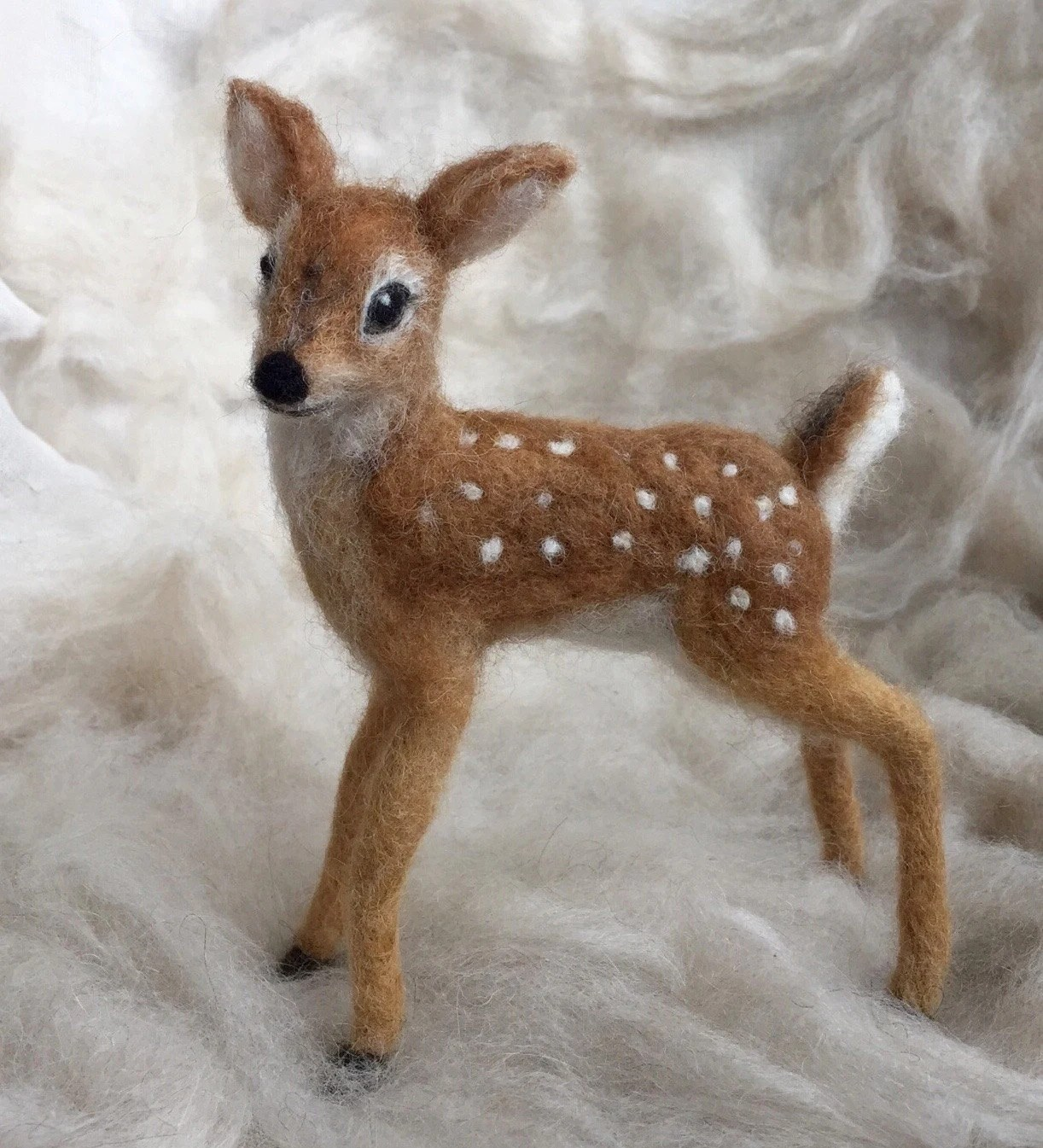 Needle Felted Deer Fawn White Tailed Wool