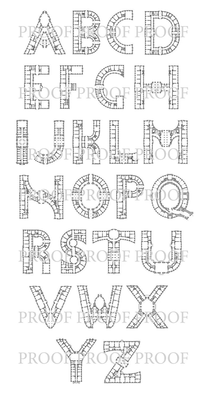 Items similar to Word Art JOY J-O-Y Architectural Alphabet