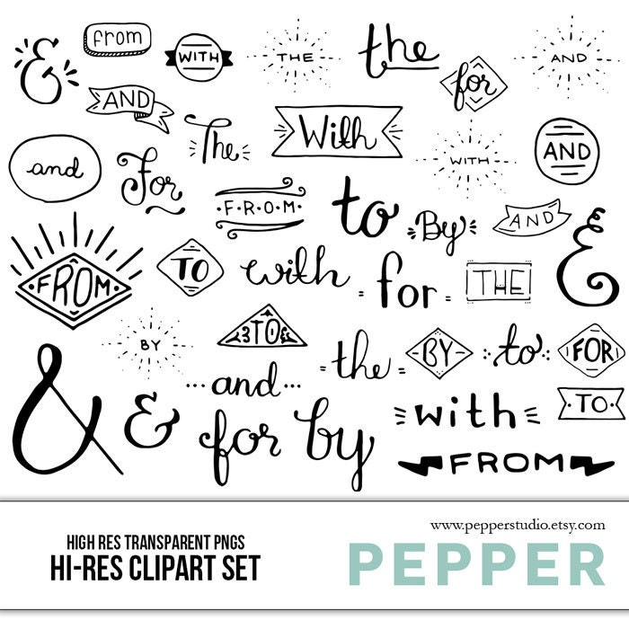 INSTANT DOWNLOAD Connecting Words and Ampersands Clipart Set