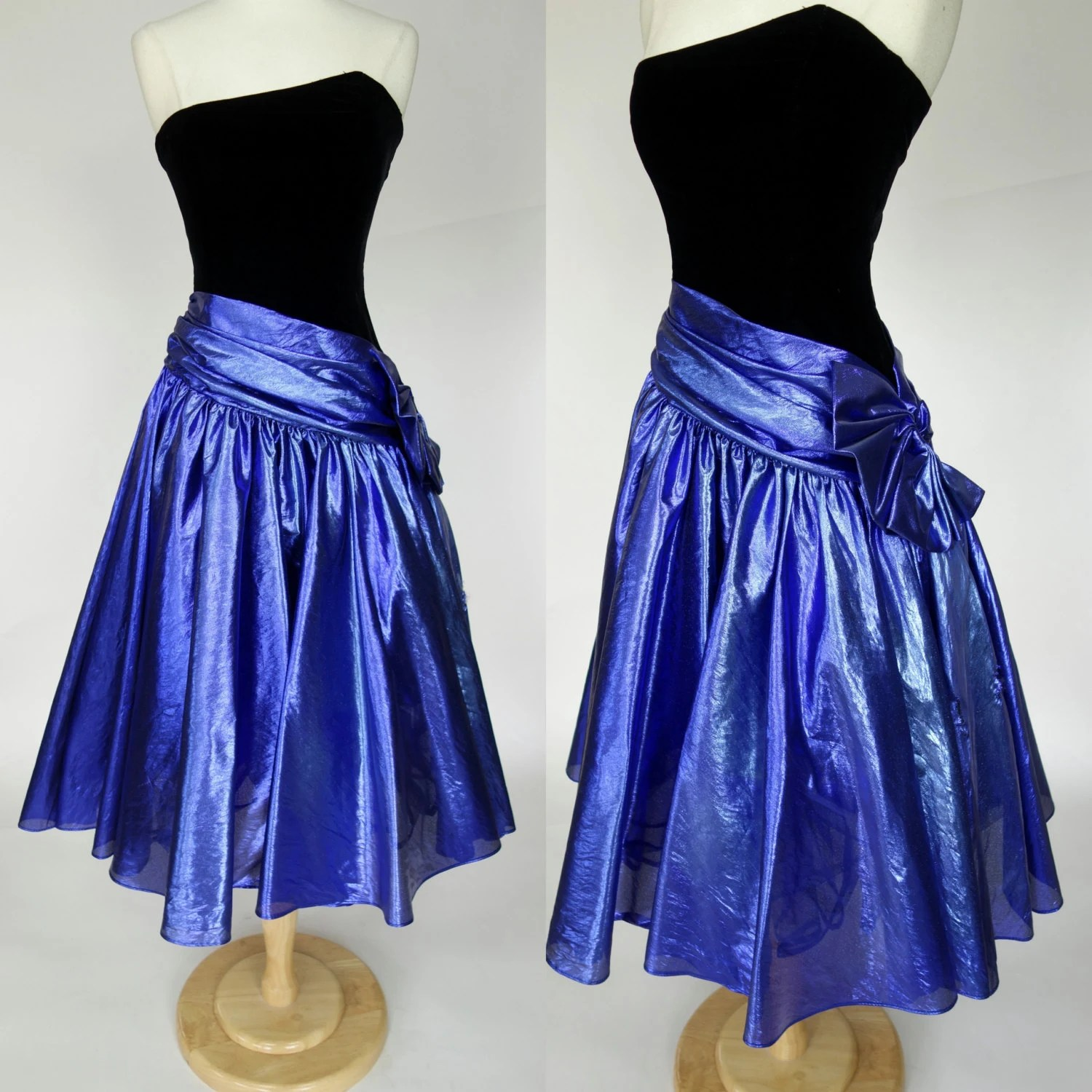 1980s metallic prom dress blue foiled fit and by DottieMaeVintage