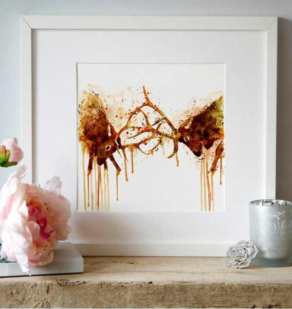 Watercolor Wall Art Elk