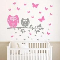 Owl Wall Decal Butterfly Stickers Nursery Baby Boy by ...
