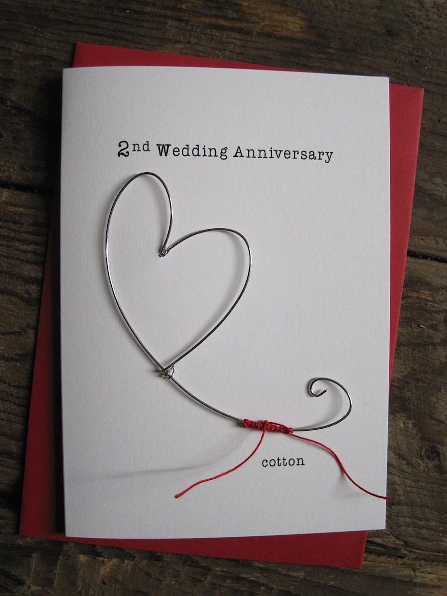 2nd Wedding Anniversary Keepsake Card COTTON Wire Heart 2