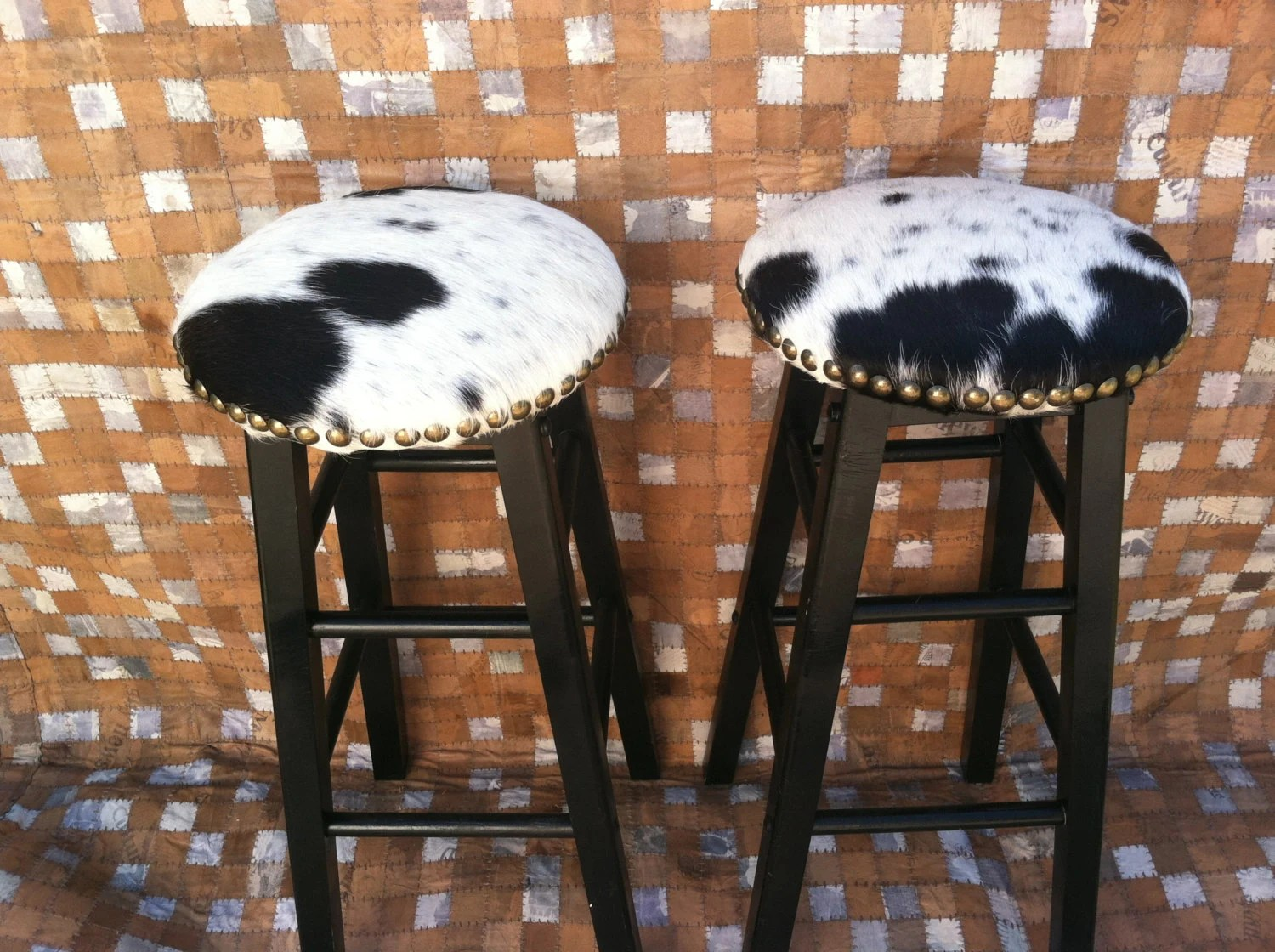 chair stool difference teak table and chairs garden cowhide barstools vintage black white hairhide leather bar
