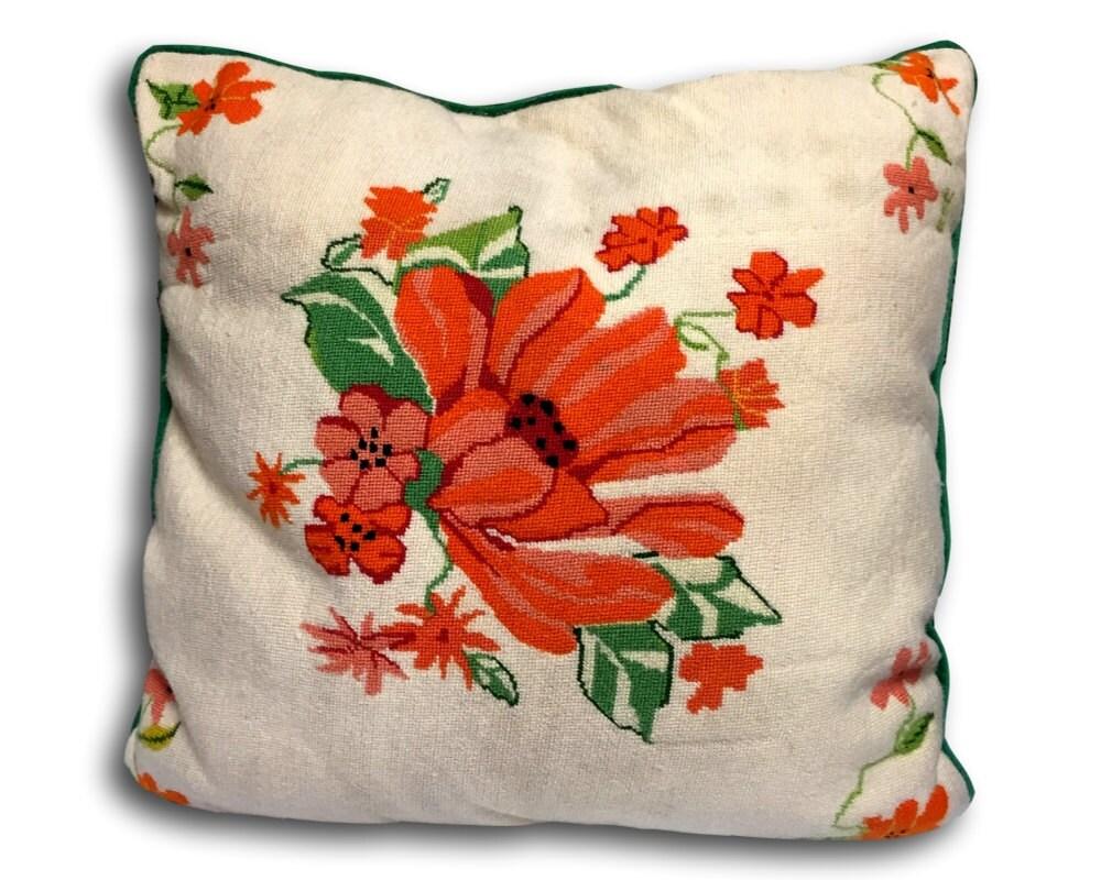 Large Vintage Preppy Chic Hand Stiched Wool Needlepoint & Velvet Decorative Pillow ? Haute Juice