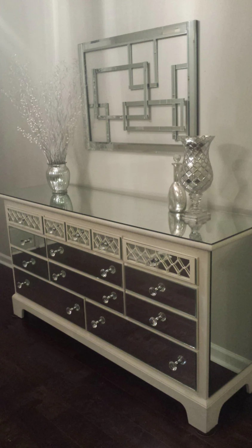 Mirrored Dresser Old White with Diamond overlay Chic mirror