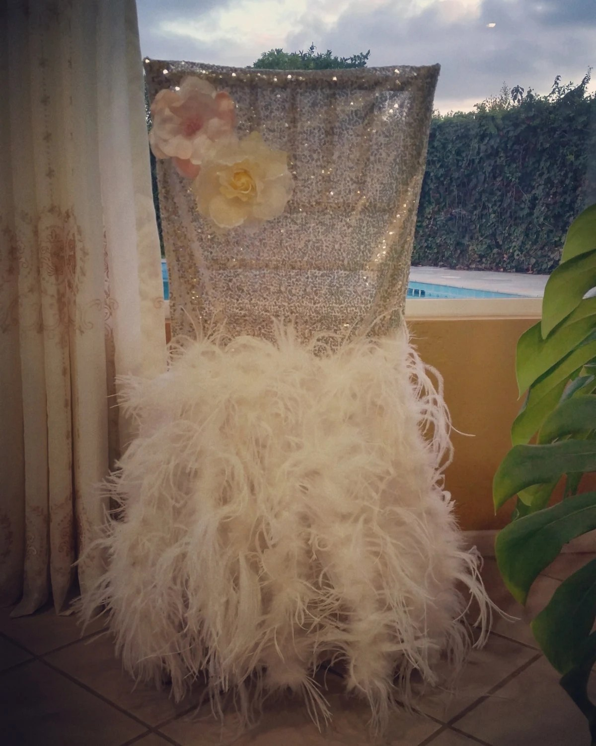 gold sequin chair covers chairs for restaurant champagne glitz cover decorated feathers and