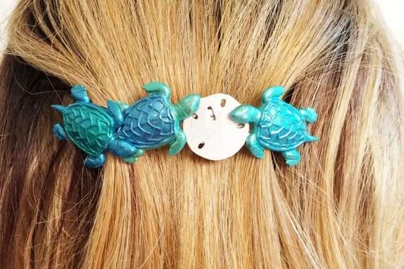 SeaTurtle Hair Barrette Sea Turtle Sand Dollar Large Hair