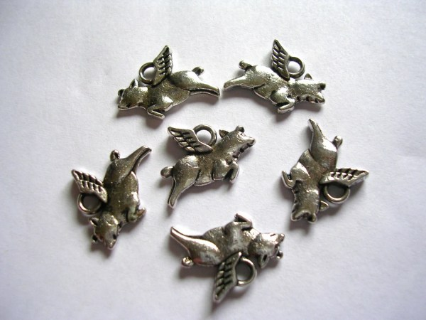 Flying Pig Charms Silver Animal Cute Double