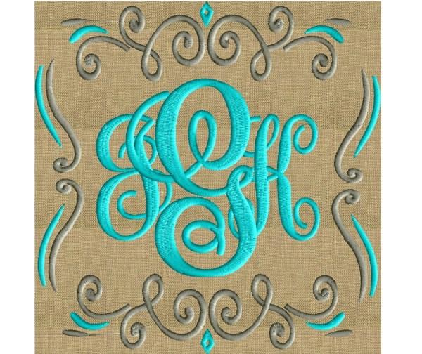 Square Scroll Font Frame Monogram Design Font not included