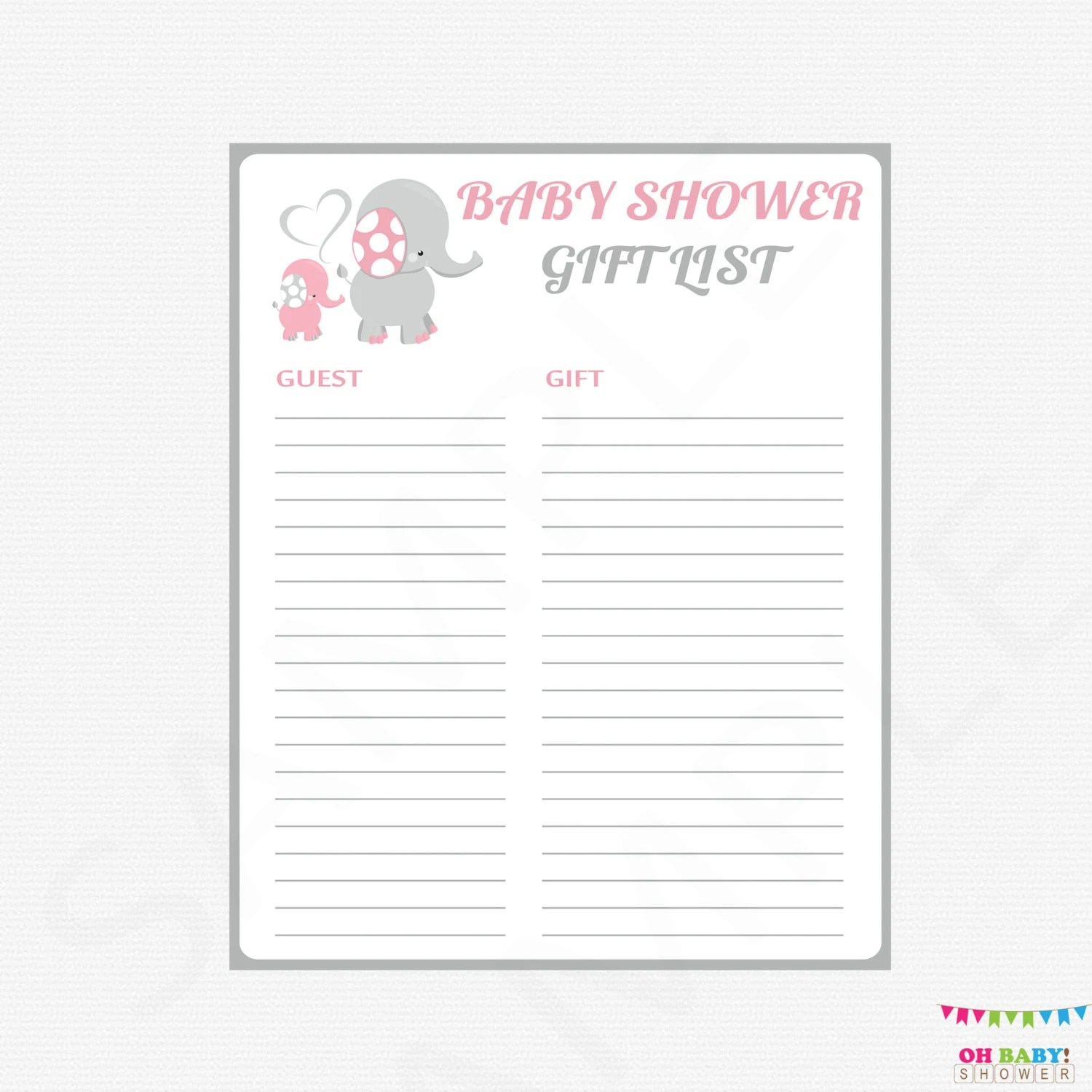 Pink And Gray Baby Shower T List Elephant Baby Shower T