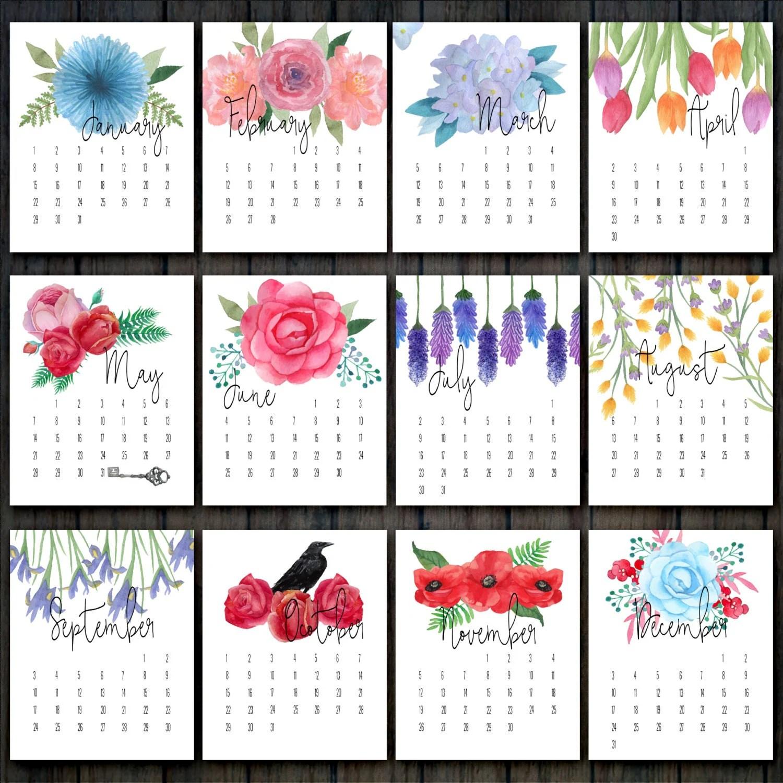 Printable Floral Calendar Desk Calendar Flower