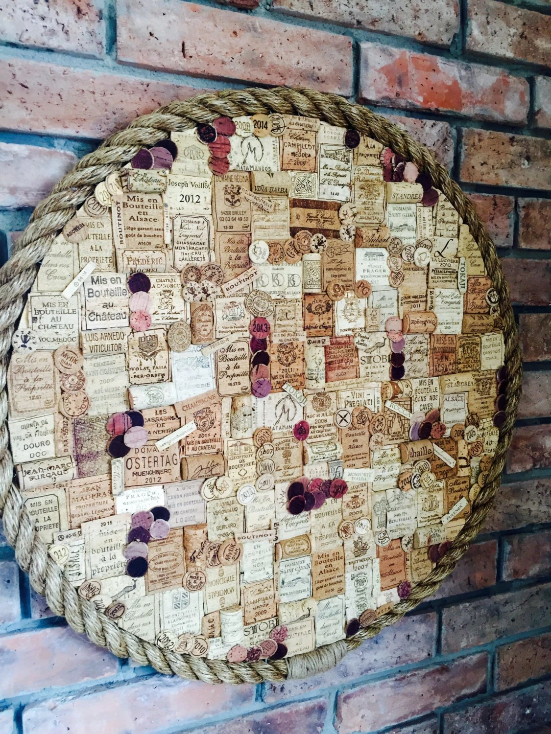 Fireplace Holder Wall Decor / Over Fireplace Wine Cork Art / Wine Corks Collage