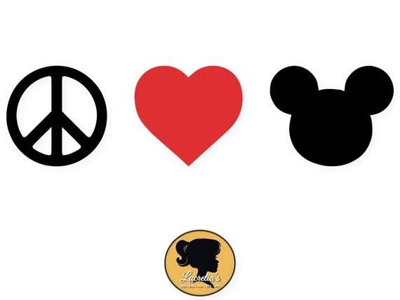 Download Mickey Peace Love SVG, Heart Peace Love Silhouette, love ...