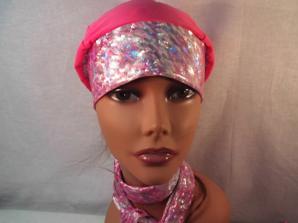 Breast Cancer Cap And Scarf Sluouchy Hat Head Cover