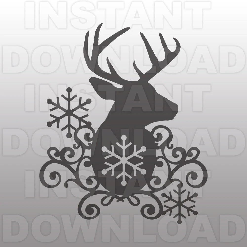 Deer Head Snowflakes SVG FileWinter SVG FileFlourish by