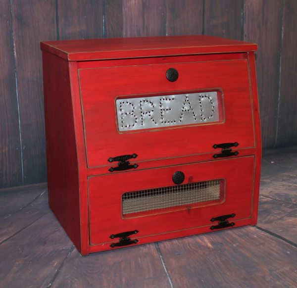 Wood Bread Box Vegetable Bin Wooden Punched Tin Antiqued