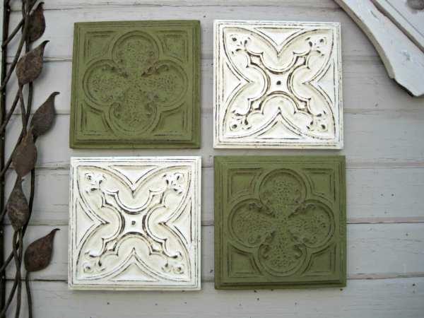 Framed Tiles. Set Of 4. Antique Ceiling Tin Green Wall