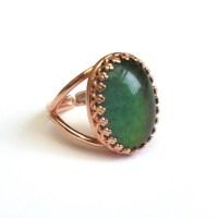 Rose Gold Mood Ring Vintage Glass Mood Stone Ring Rose Gold