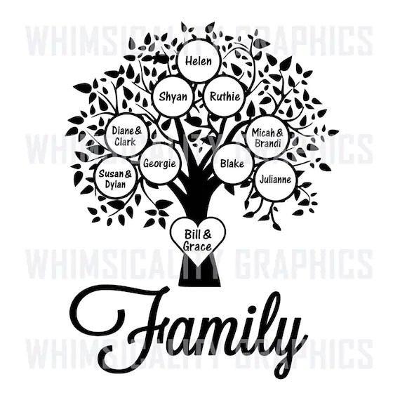 Digital File Family Tree Blank Template with SVG DXF PNG