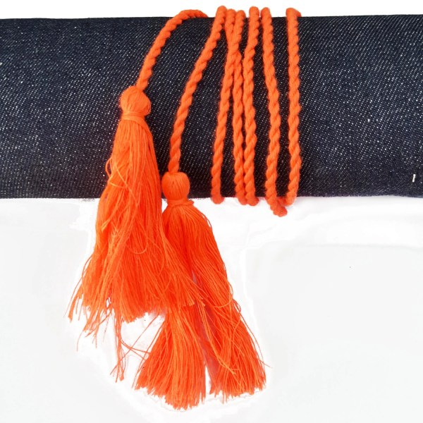 Orange Boho Tassels Belt Hippie Twisted Cord With Two