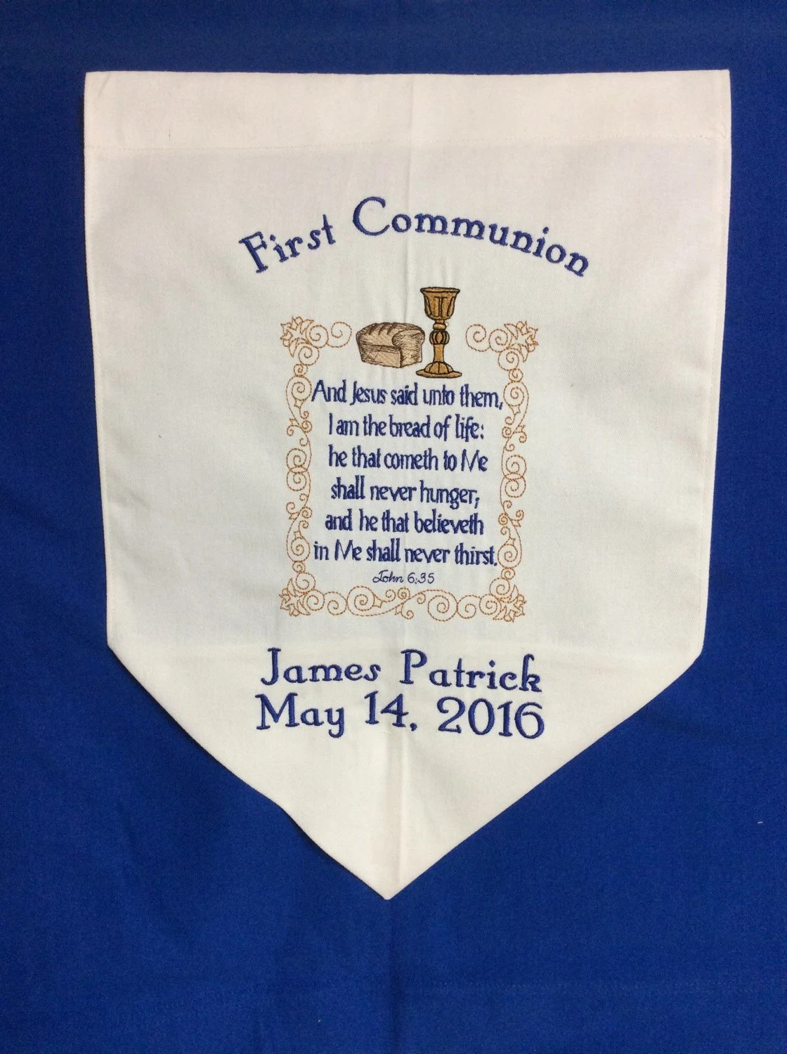Personalized First Communion Banner With Bible Verse By
