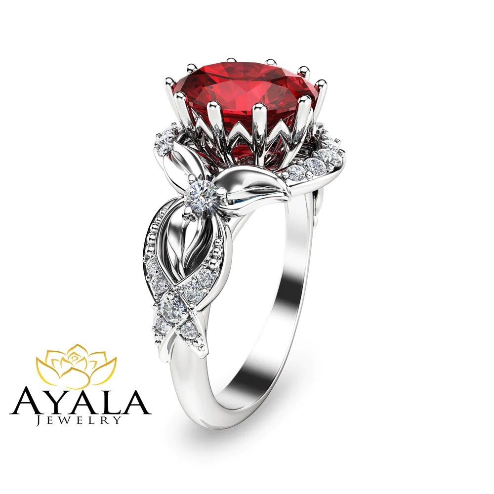14K White Gold Ruby Engagement Ring Unique Ruby by