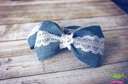 denim lace hair bows vintage inspired