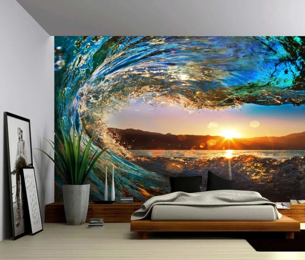 Sunset Sea Ocean Wave Large Wall Mural -adhesive Vinyl