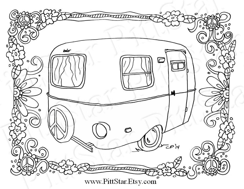 Instant Download Whimsical Boler Travel Trailer Peace
