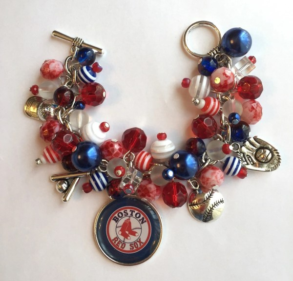 Boston Red Sox Charm Bracelet With White And Blue