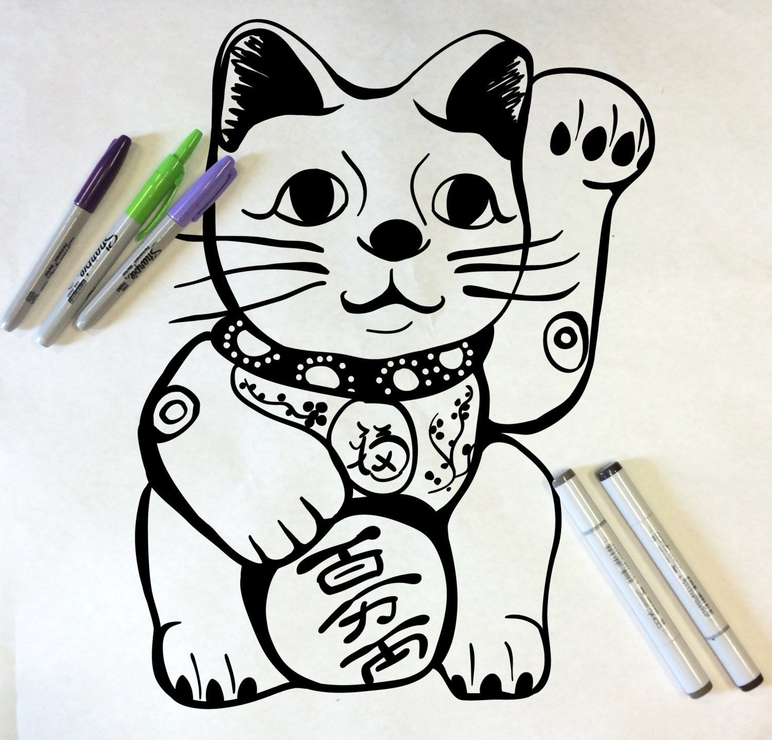 Beckoning Cat Coloring Page Pin Lucky Cat Coloring Page Ajilbabcom