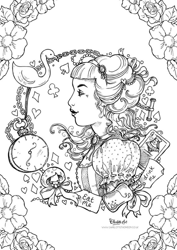 adult colouring page. alice in wonderland gothic lolita kawaii