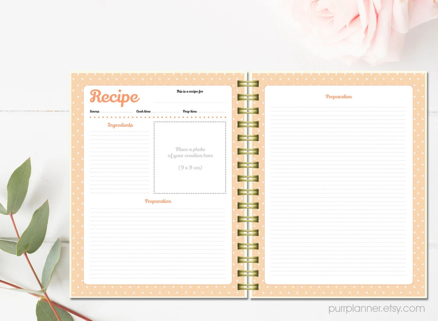 printable recipe cards personalized binder by purrplanner