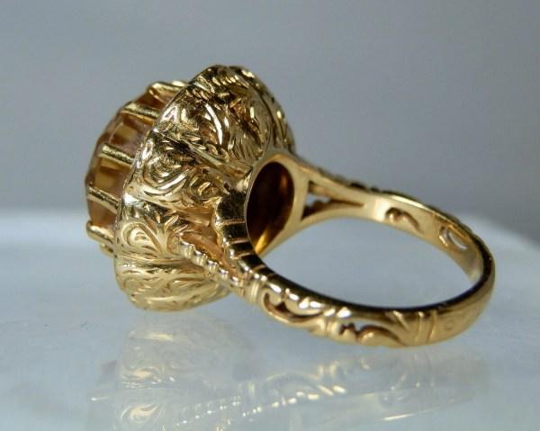 Antique Gold Ring Citrine Quartz And Diamond Jewelry 19k