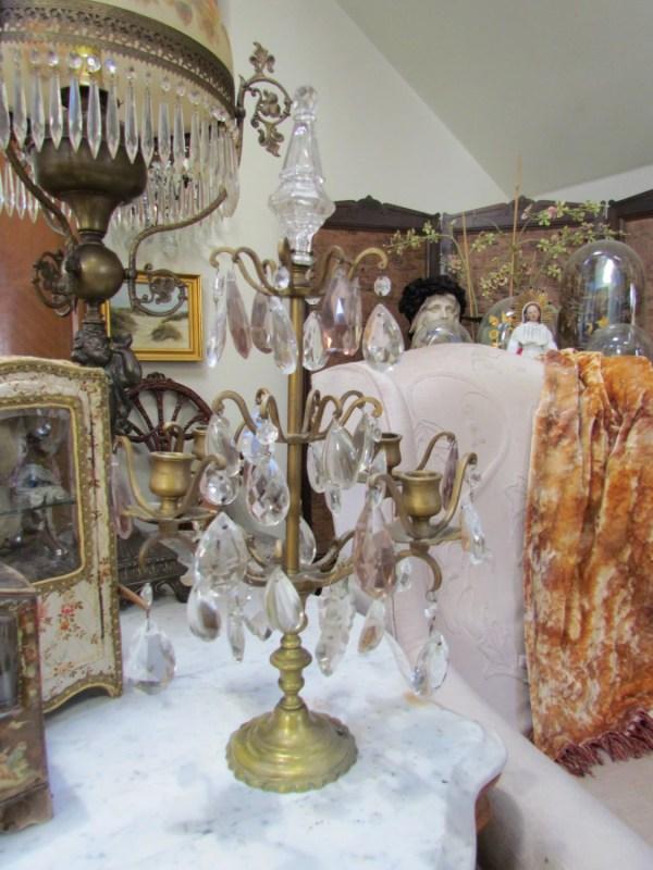 Layaway Antique French Crystal Girandole Candelabra