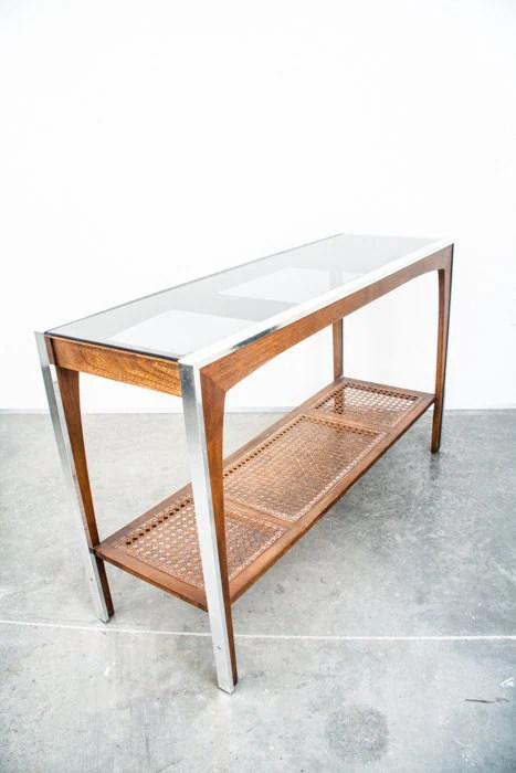 Mid century modern console table sofa vintage chrome wood - Table haute console ...