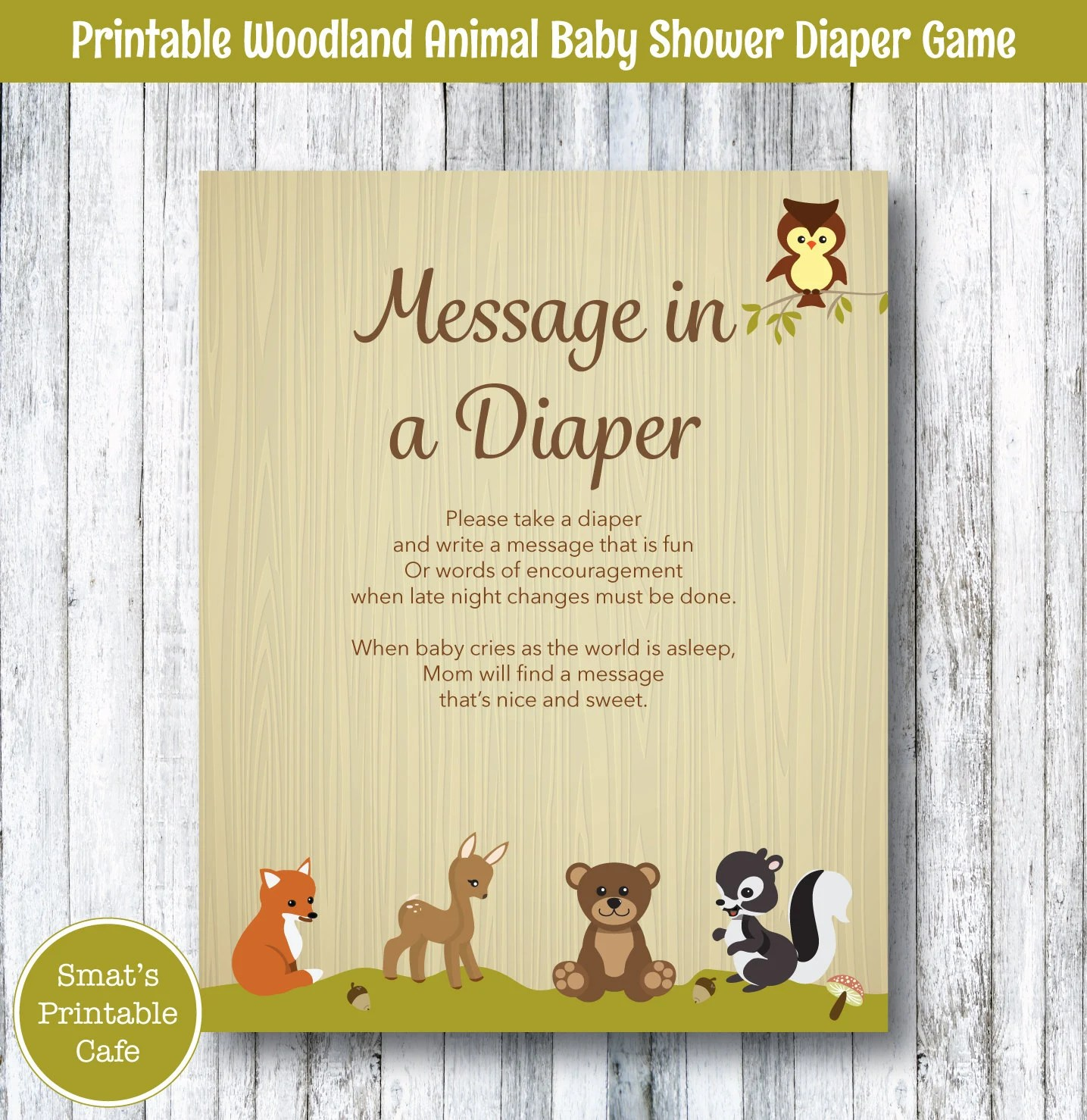Woodland Animal Baby Shower Diaper Message Game Printable