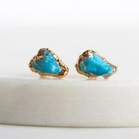 turquoise earrings / turquoise stud earrings / by ...