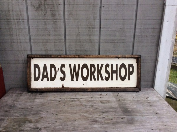 Dads Workshop Wood Sign Custom Colors