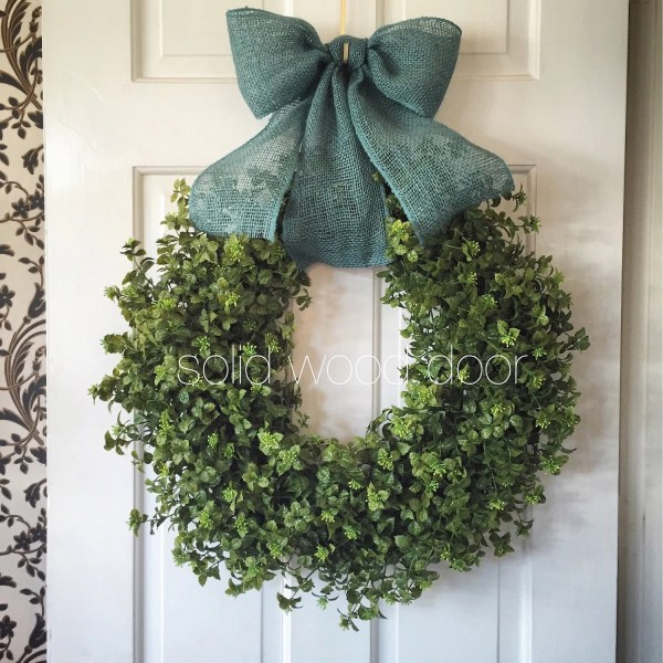 Spring Faux Boxwood Wreath Christmas Burlap 22
